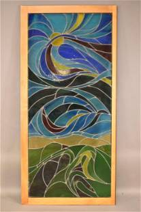 LARGE LANDSCAPE STAINED GLASS WINDOW