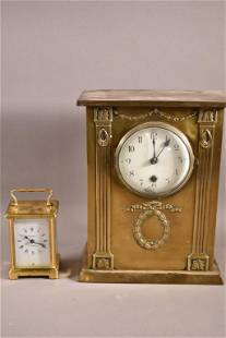 FRENCH CARRIAGE CLOCK & FRENCH MANTLE CLOCK