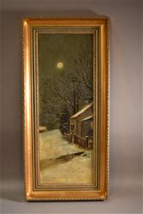 19TH CENTURY NOCTURNAL WINTER SCENE OIL PAINTING