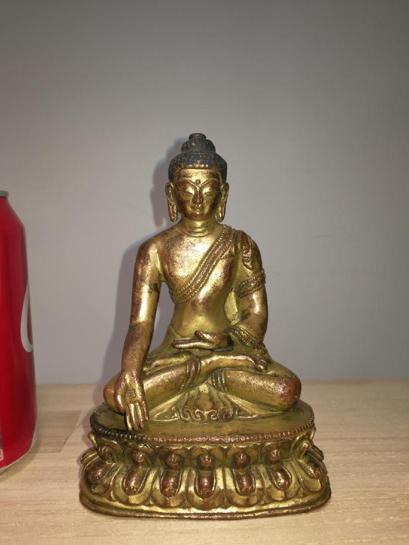 Tibetan Gilt Bronze Seated Buddha 17th C.