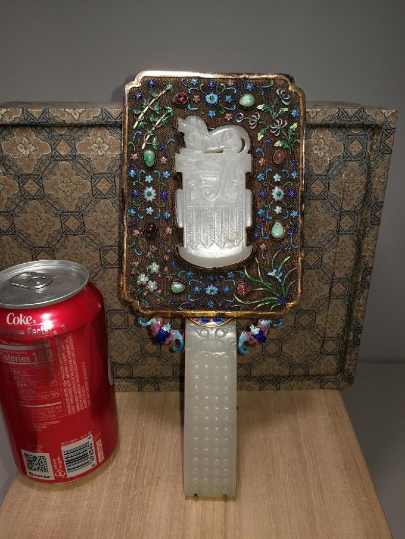Chinese Lace Enamel Inlaid White Jade Hand Mirror