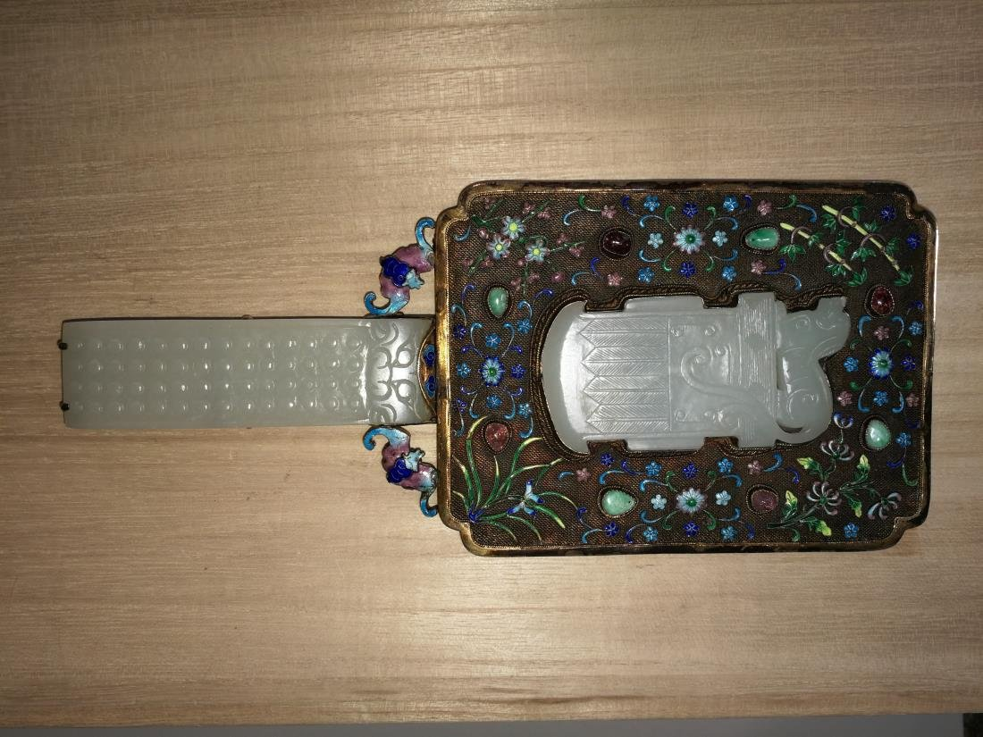 Chinese Lace Enamel Inlaid White Jade Hand Mirror - 2