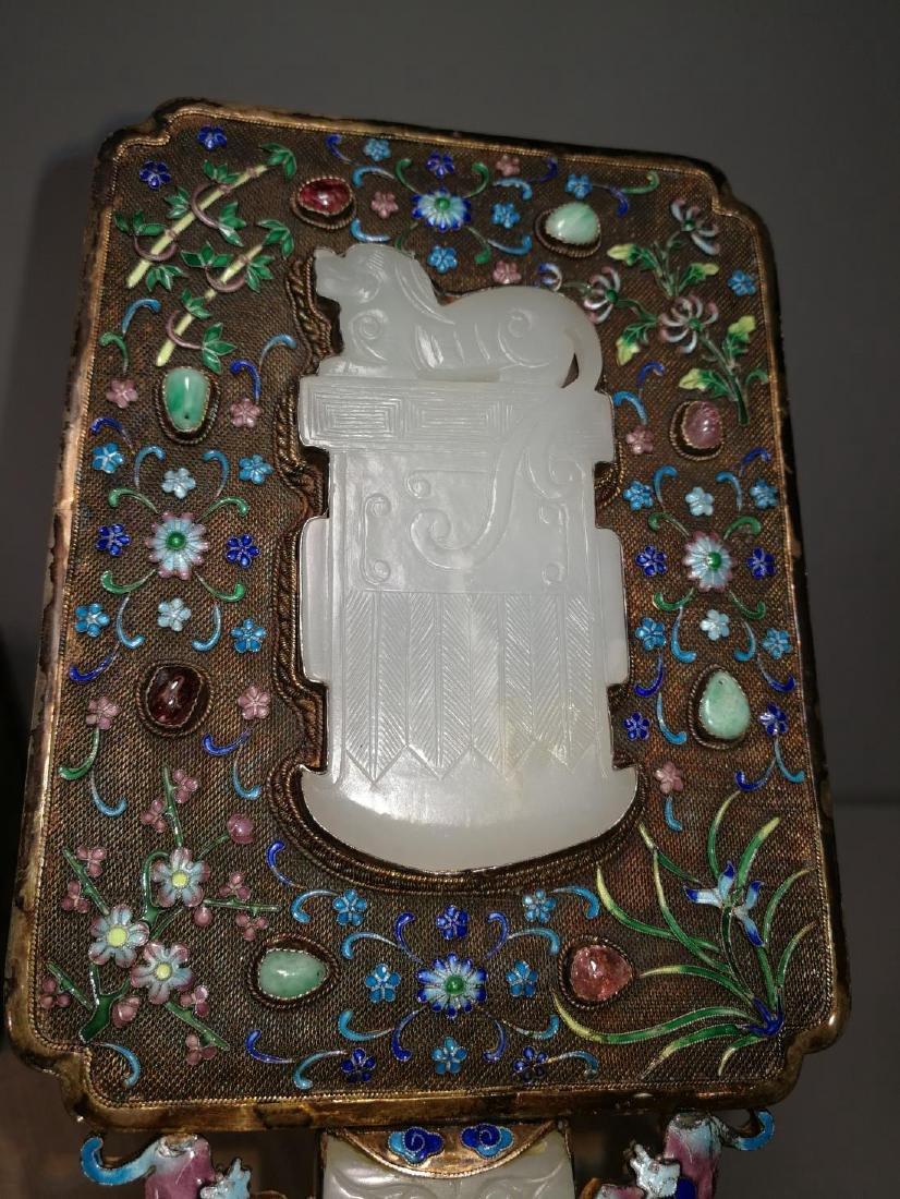 Chinese Lace Enamel Inlaid White Jade Hand Mirror - 3