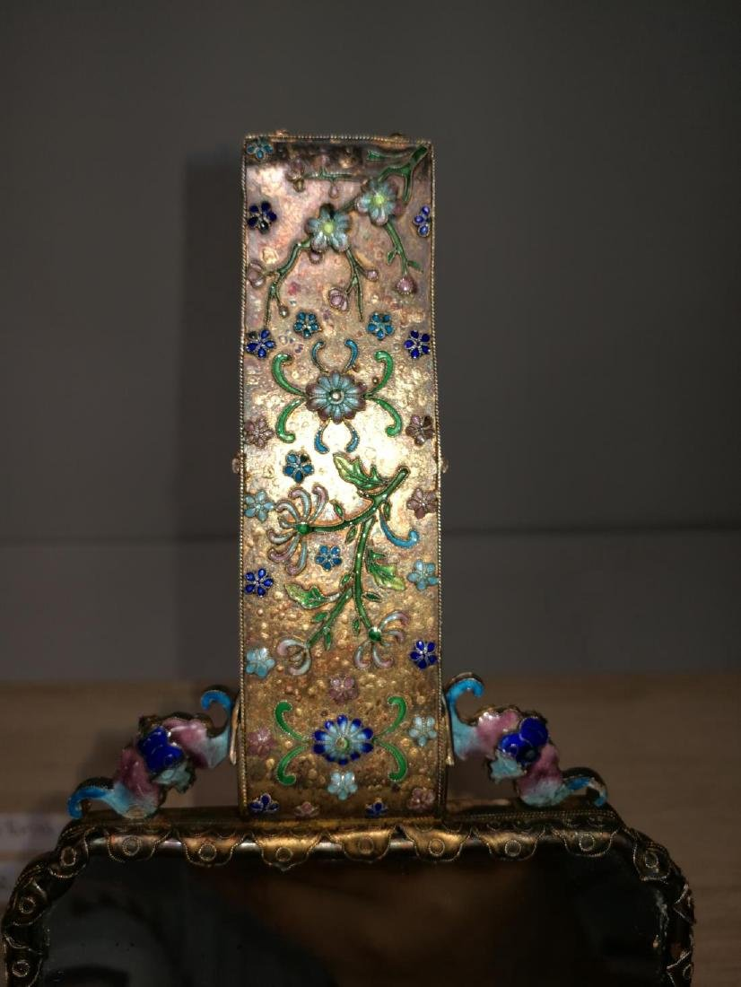 Chinese Lace Enamel Inlaid White Jade Hand Mirror - 6