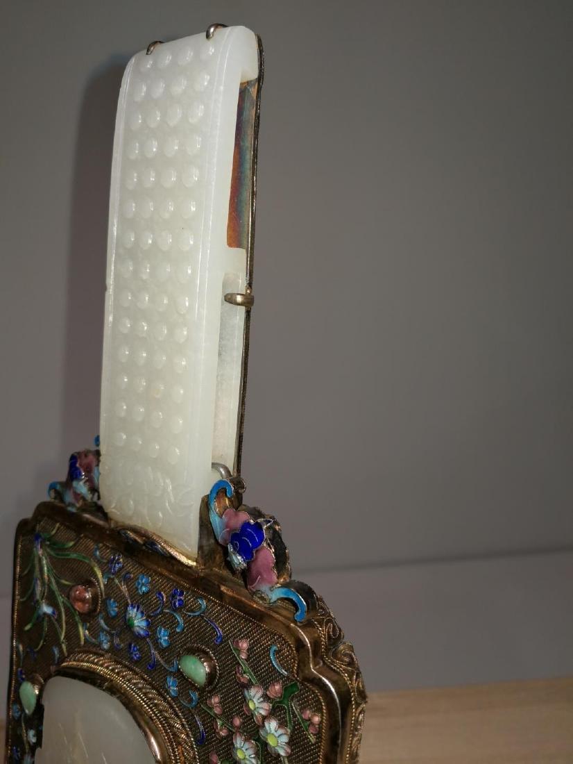 Chinese Lace Enamel Inlaid White Jade Hand Mirror - 7