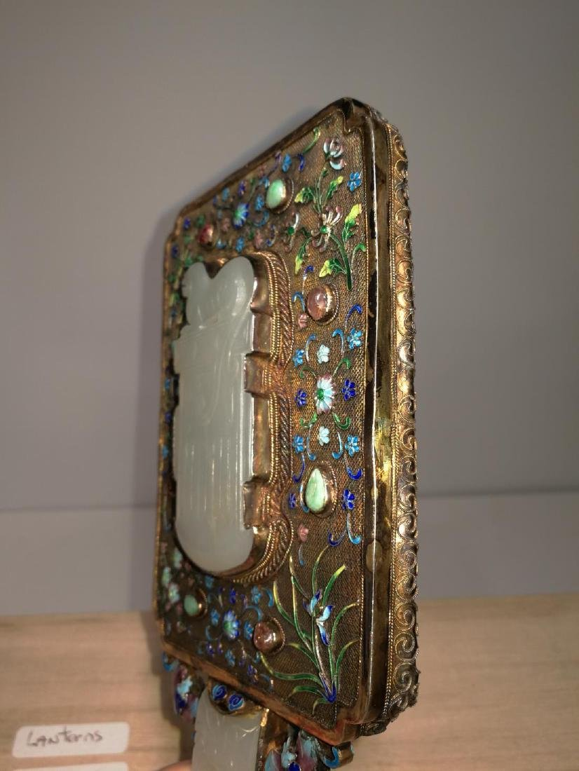 Chinese Lace Enamel Inlaid White Jade Hand Mirror - 8
