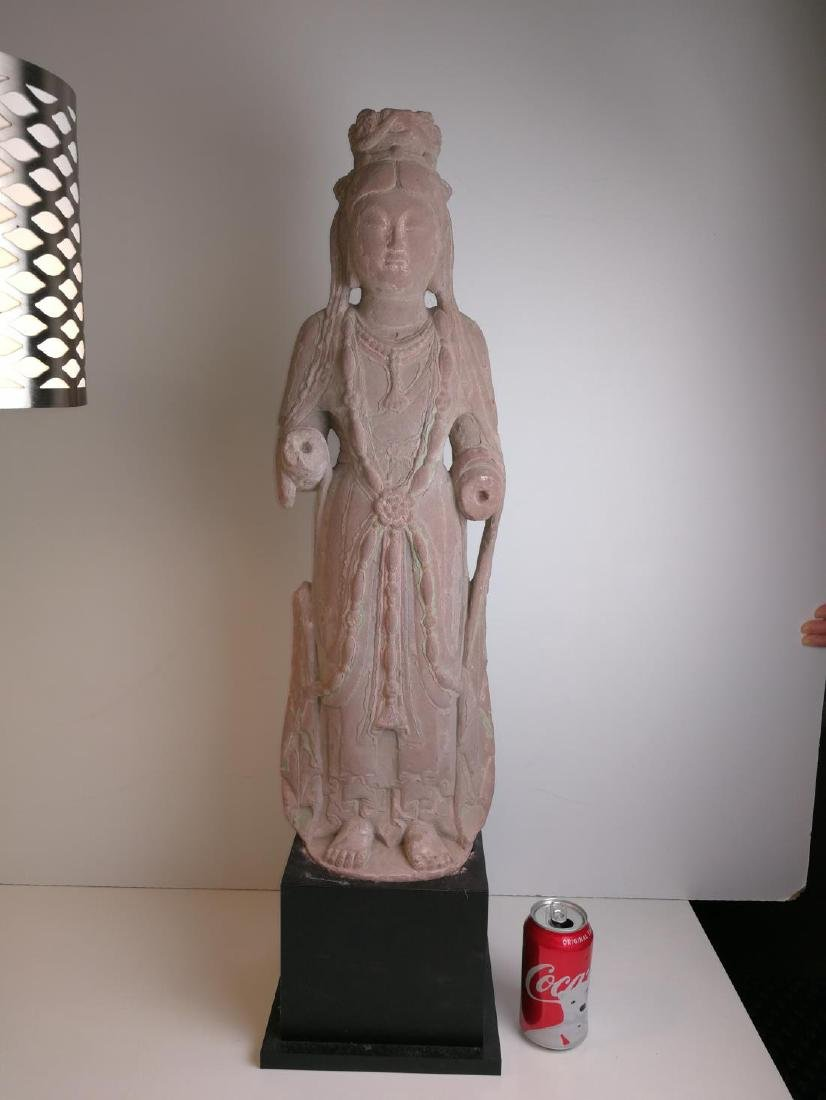 Chinese Red Sandstone Carved Painted Guanyin Portrait