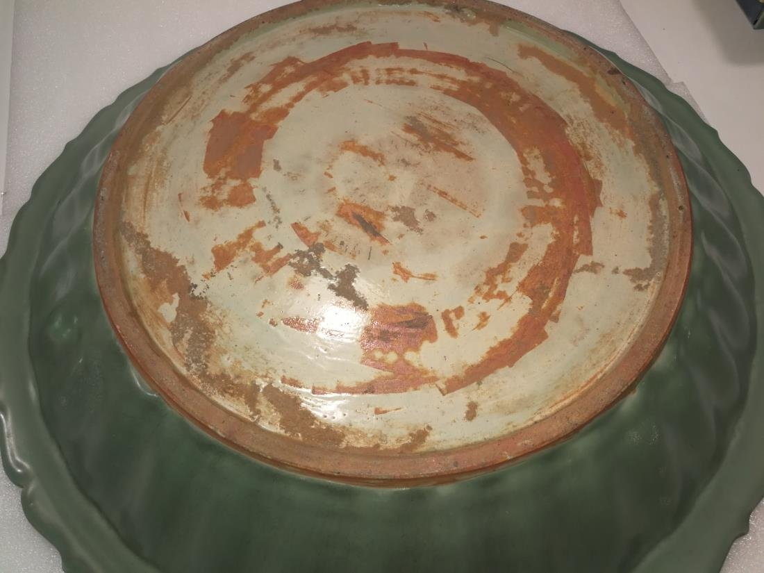 Huge Chinese LongQuan Porcelain Plate Possible Ming Dy - 8