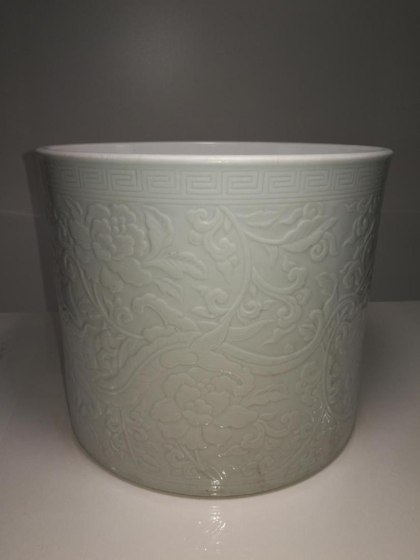 Chinese Porcelain Brushpot Da Qing Kangxi Nian Zhi Mark - 2
