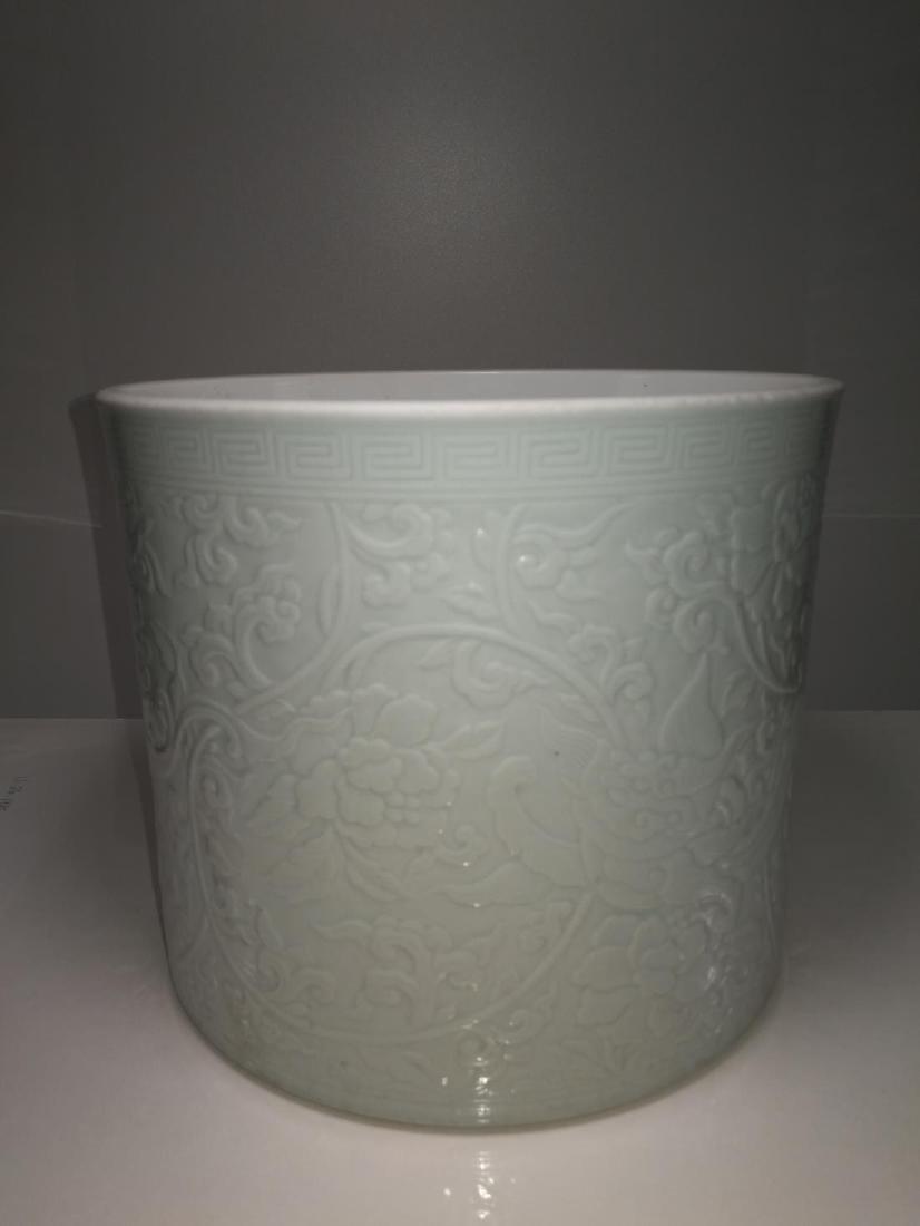 Chinese Porcelain Brushpot Da Qing Kangxi Nian Zhi Mark - 3