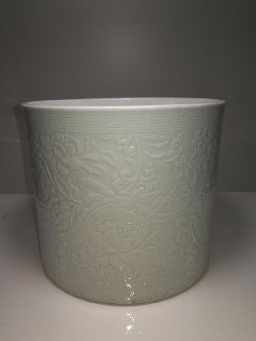 Chinese Porcelain Brushpot Da Qing Kangxi Nian Zhi Mark - 4