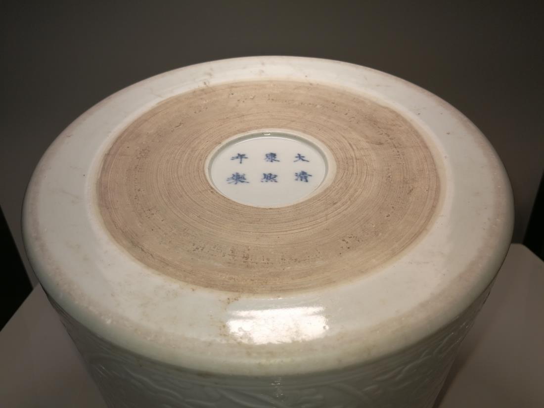 Chinese Porcelain Brushpot Da Qing Kangxi Nian Zhi Mark - 7