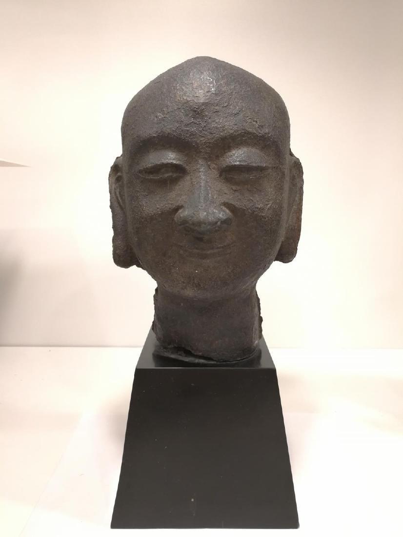 Song Dynasty Chinese Iron Buddha Head