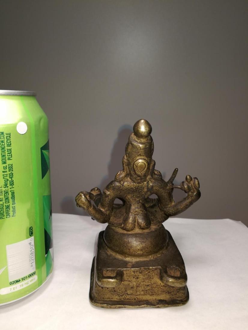 Rare Antique Indian Bronze Sitting Buddha - 4