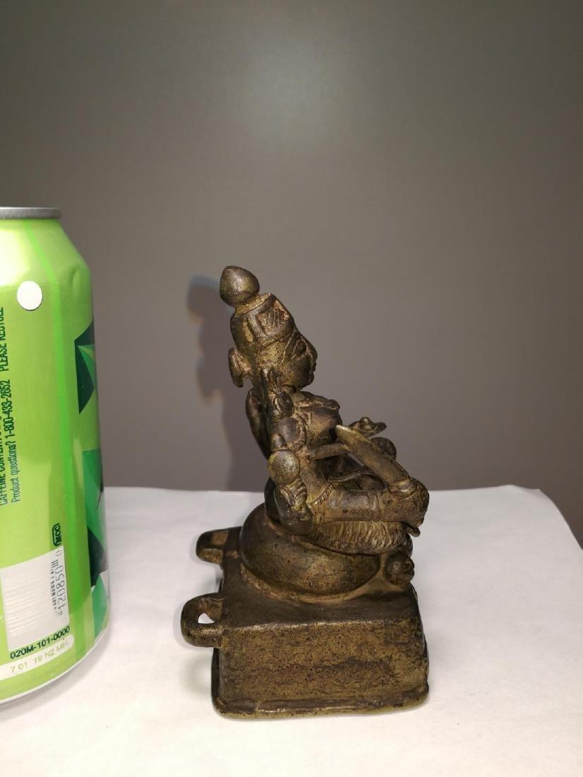 Rare Antique Indian Bronze Sitting Buddha - 5