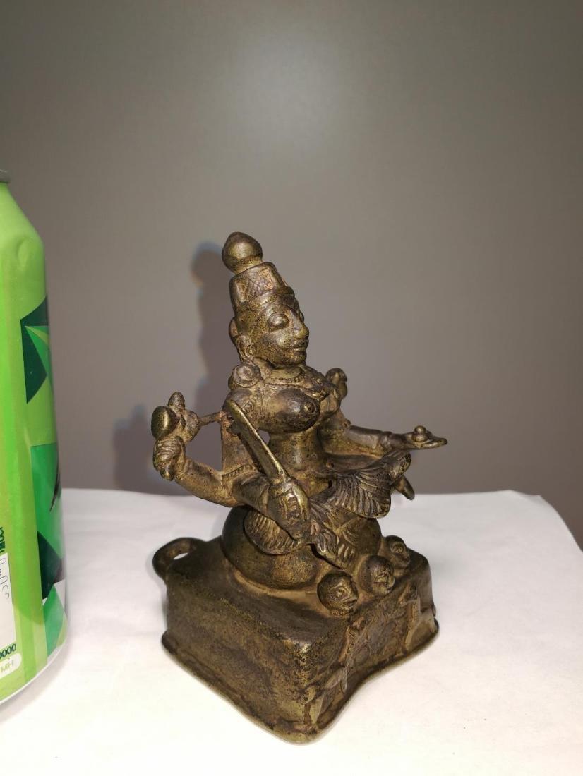Rare Antique Indian Bronze Sitting Buddha - 6