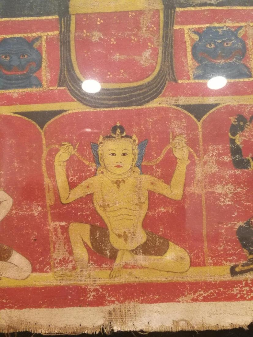 Antique Tibetan Hand Painted Thangka - 4