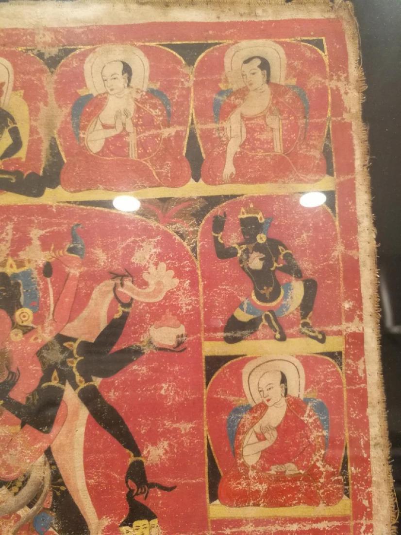 Antique Tibetan Hand Painted Thangka - 8