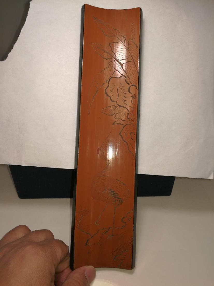 Rare Chinese Bamboo Armrest Zi Shu Mark Carved Lacquer - 2