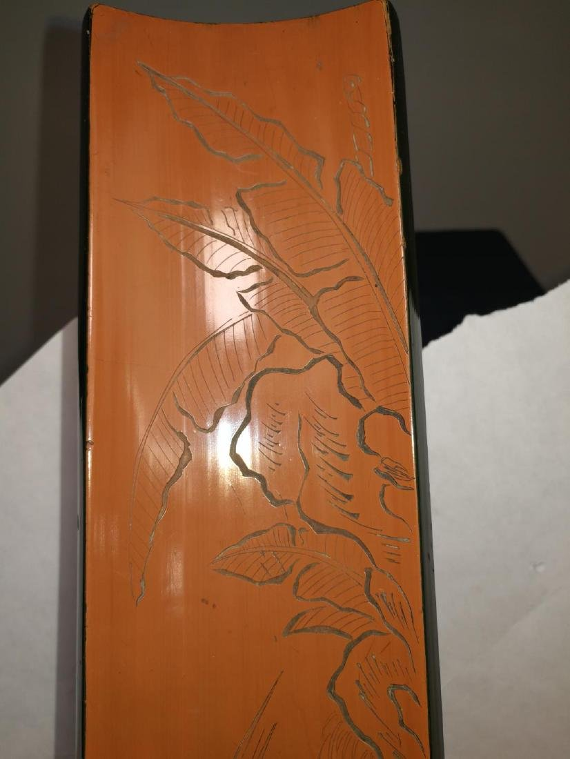 Rare Chinese Bamboo Armrest Zi Shu Mark Carved Lacquer - 7