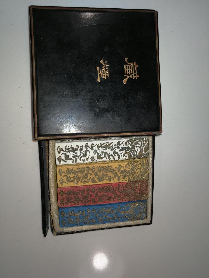 Four Antique Chinese Colorful Ink In Lacquer Box