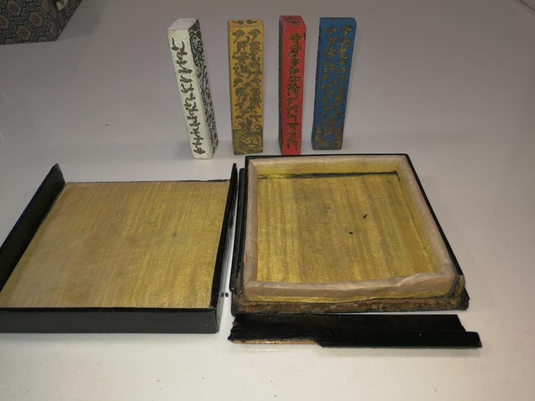 Four Antique Chinese Colorful Ink In Lacquer Box - 2