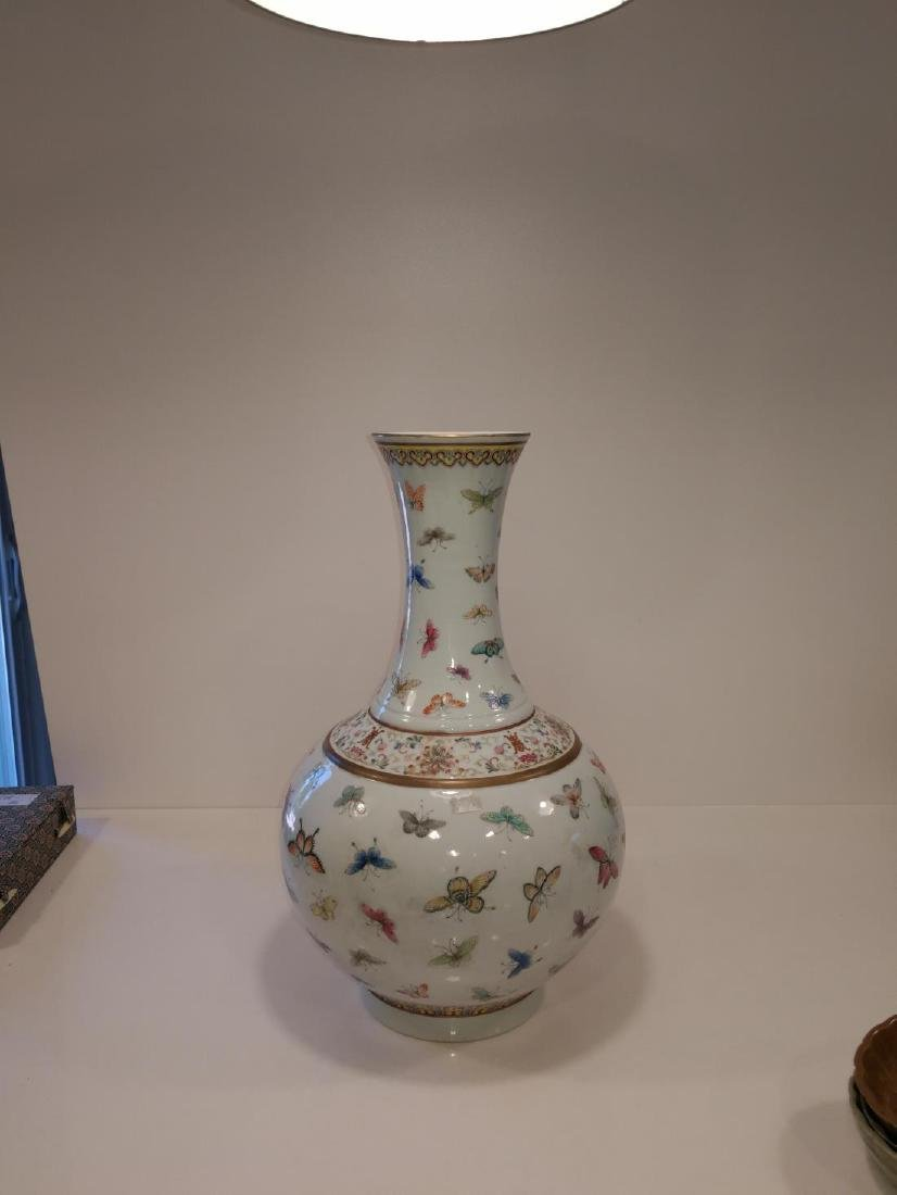 Chinese Famille Porcelain Vase Da Qing Guangxu Mark - 4