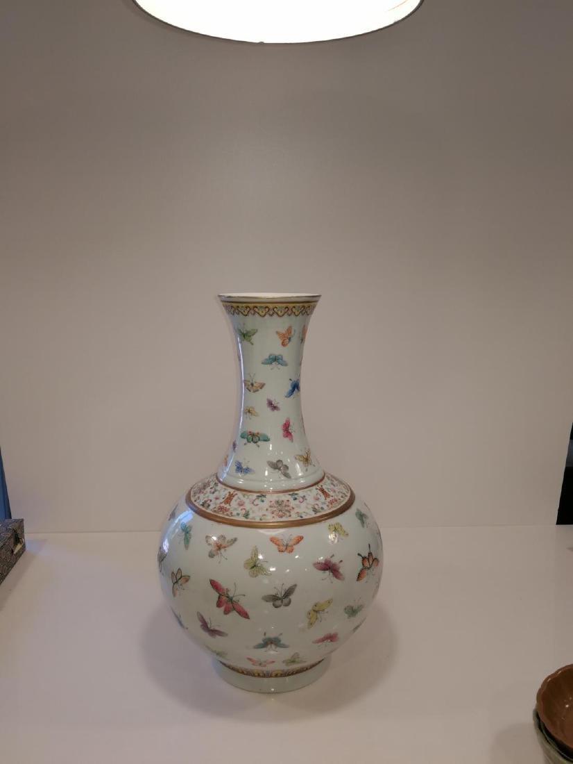 Chinese Famille Porcelain Vase Da Qing Guangxu Mark - 5