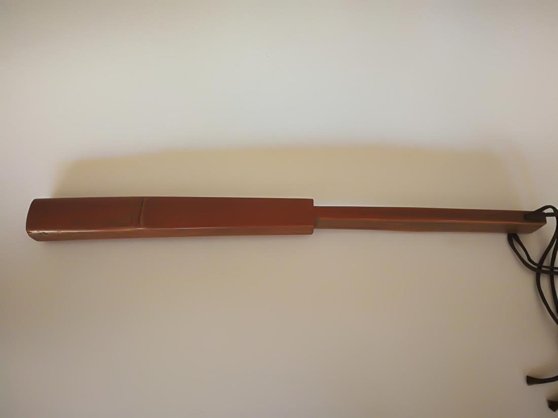Bamboo Carved Fan-shaped Penal Ruler Artist Signed - 3