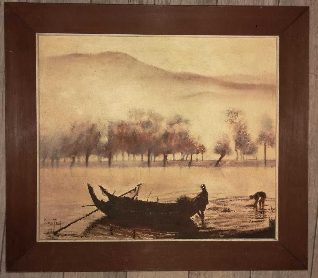 Chinese Oil Landscape Painting Possible 20th C. Signed