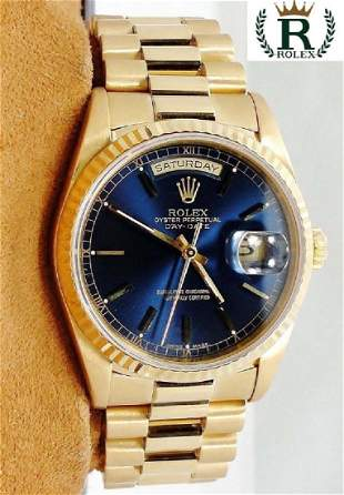 Important 18kt Gold Rolex Day Date President 18238