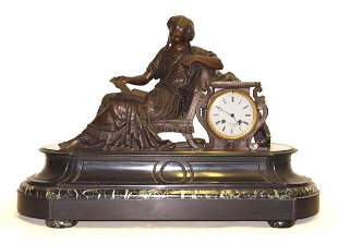 19th Century French Bronze Mantle Clock Reclining