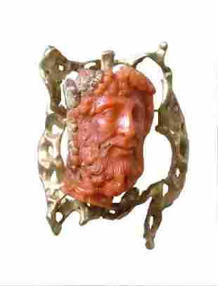 14kt Gold Hand Carved Mediterranean Coral Allegorical
