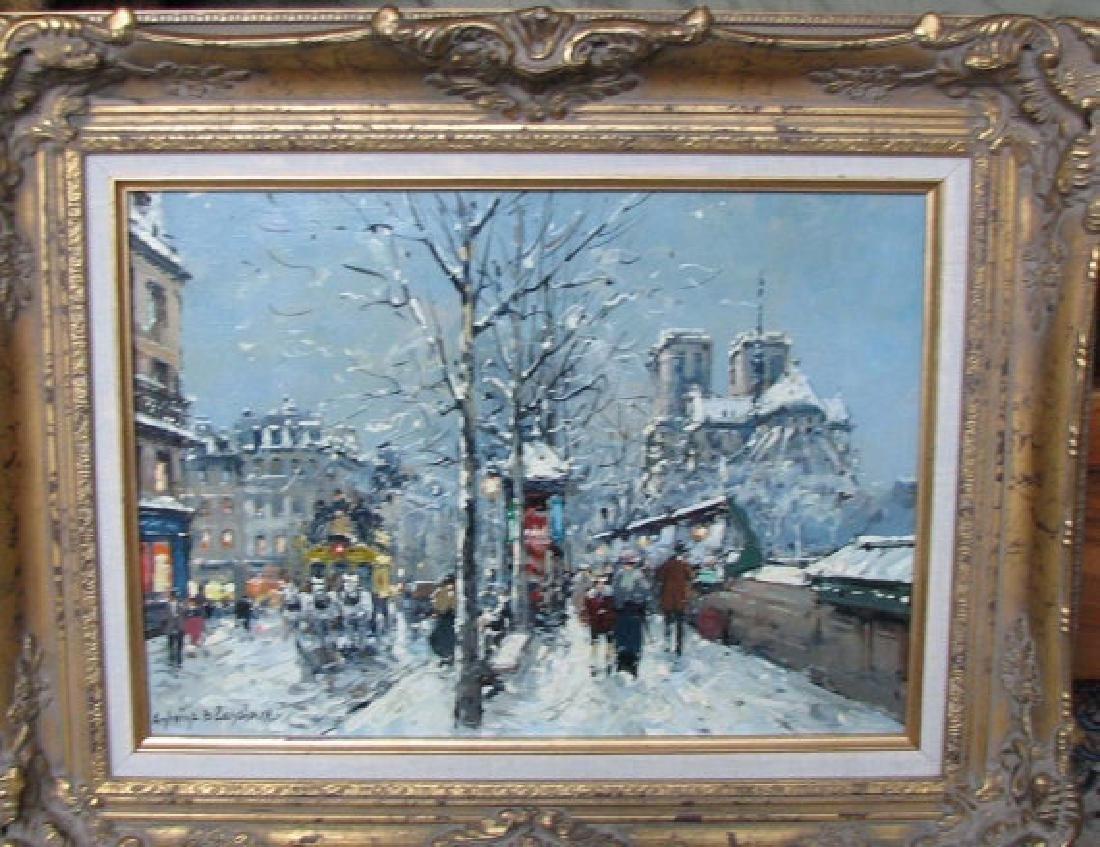 Antoine Blanchard Paris Snow Scene Oil Painting Quai De