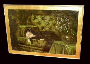 Long Haired Angora Cat On Green Sofa oil Painting Carl