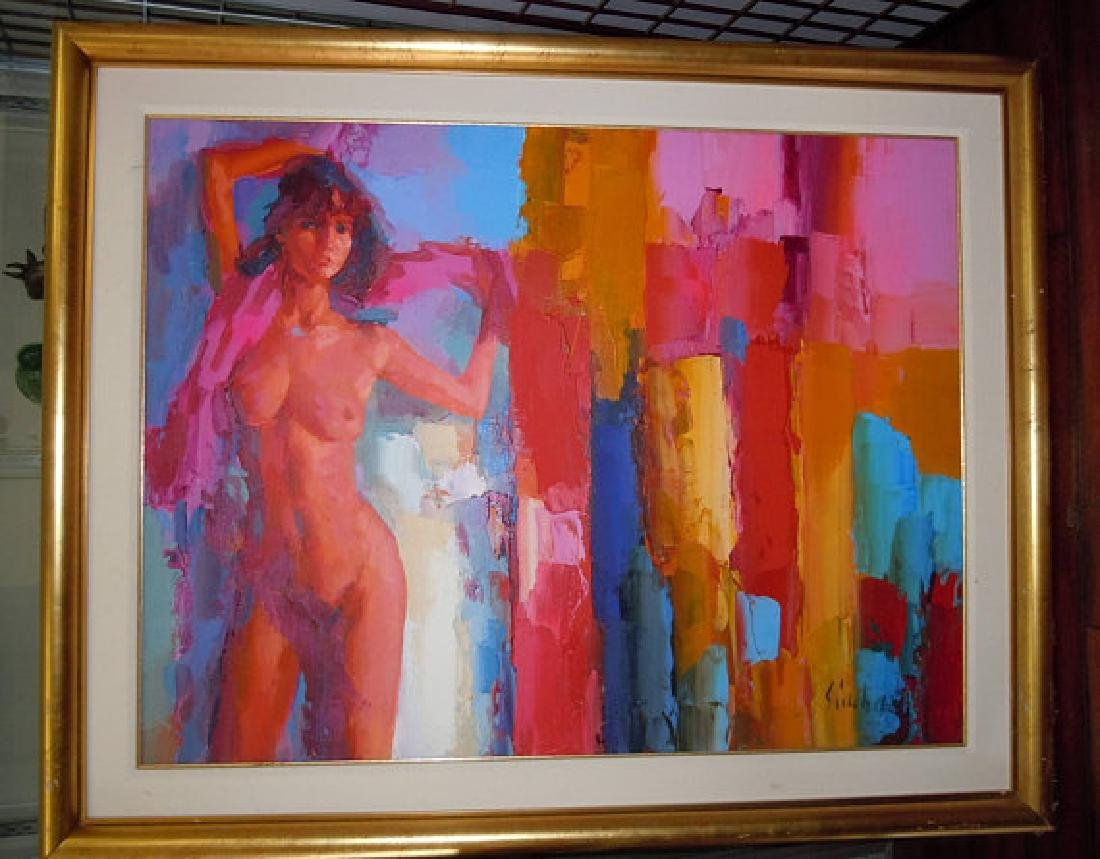 Large Nicola Simbari Darleen Oil Painting Italian