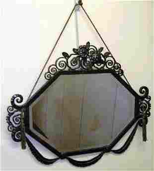 Edgar Brandt Wrought Iron French Art Deco Mirror France