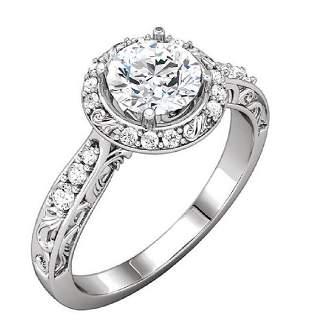 18Kt White Gold Diamond Halo Engagement Wedding Ring
