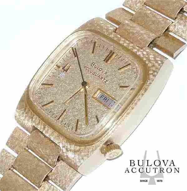 14kt Gold Diamond Bulova Accuquartz Day Date Watch