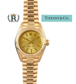 14kt Yellow Gold Rolex For Tiffany Ladies President