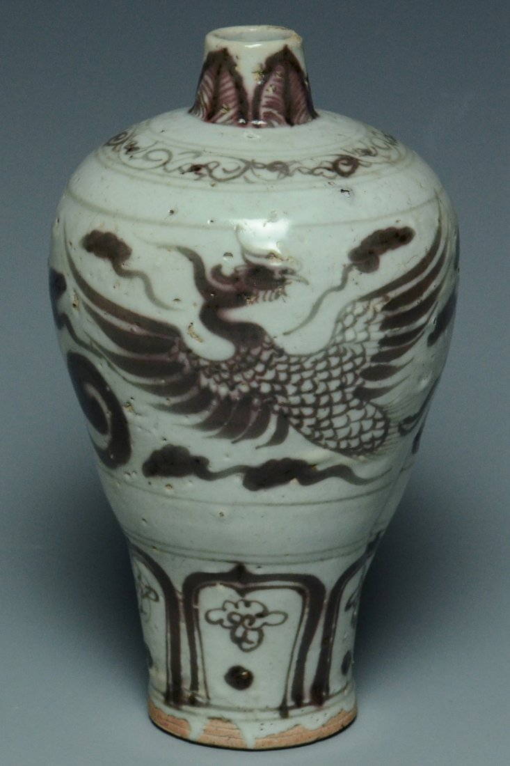 A YUAN DYNASTY UNDERGLAZED RED PORCELAIN VASE