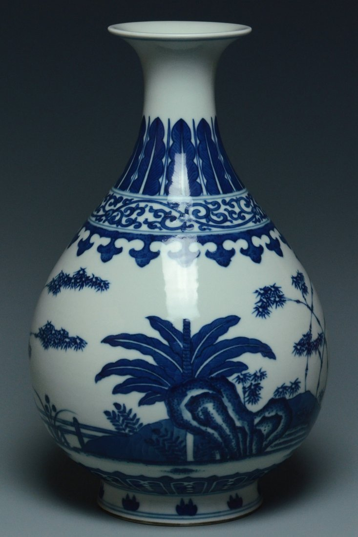 A QING DYNASTY BLUE AND WHITE VASE TONGZHI MARK