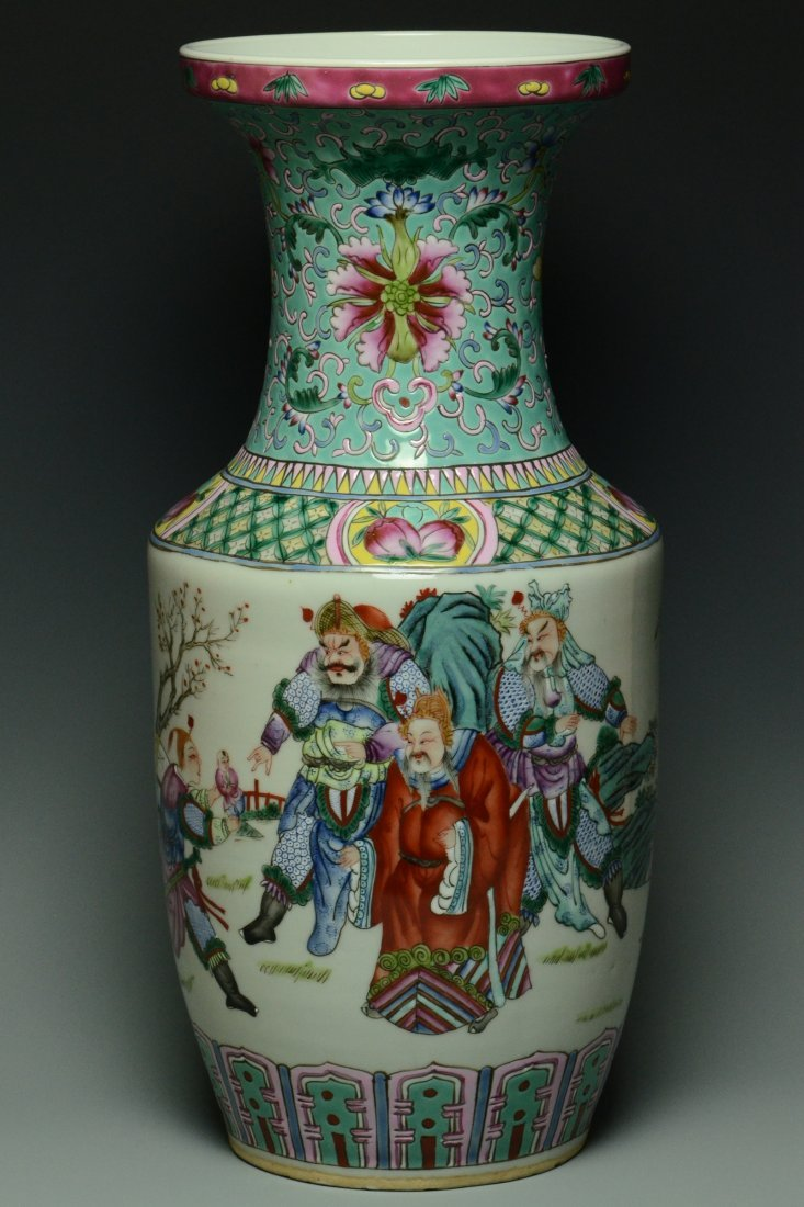 A LARGE FAMILLE ROSE FIGURE SUBJECT VASE
