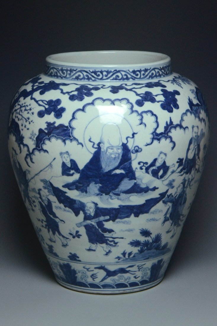 A LARGE EIGHT IMMORTALS JAR JIAJING MARK