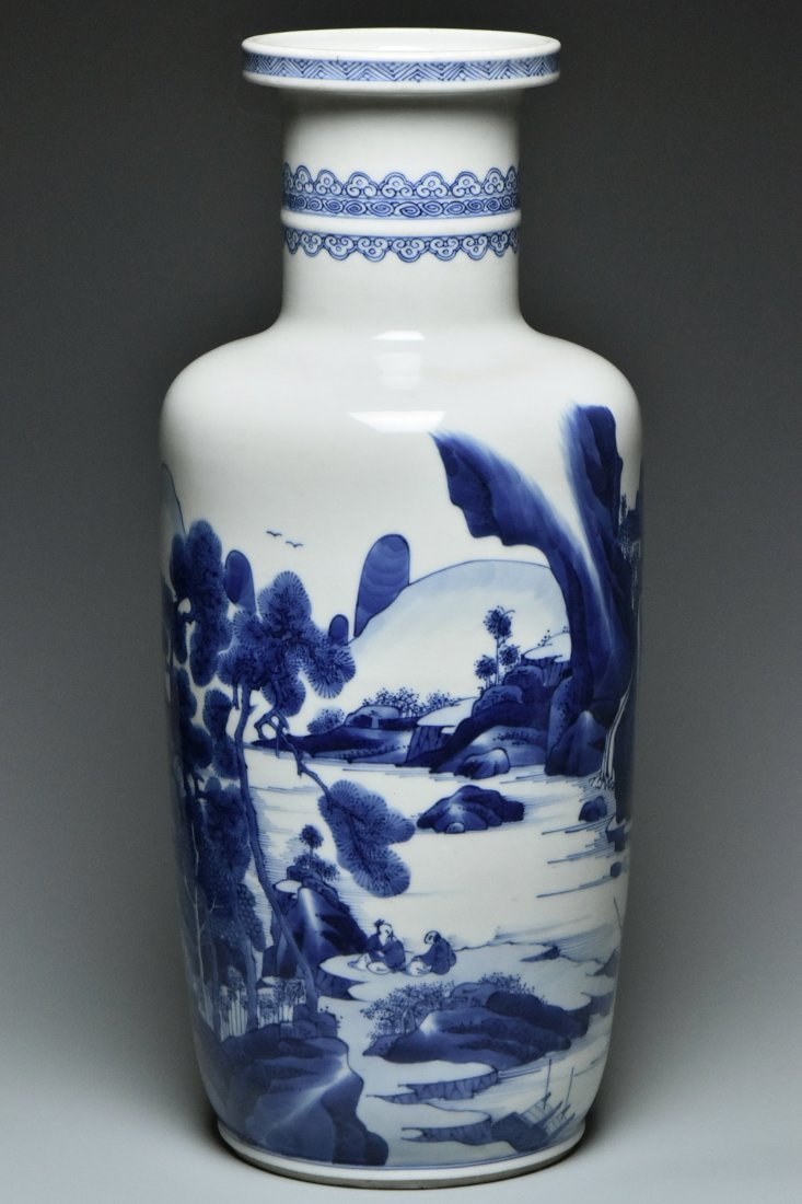 A LARGE BLUE AND WHITE VASE KANGXI PERIOD