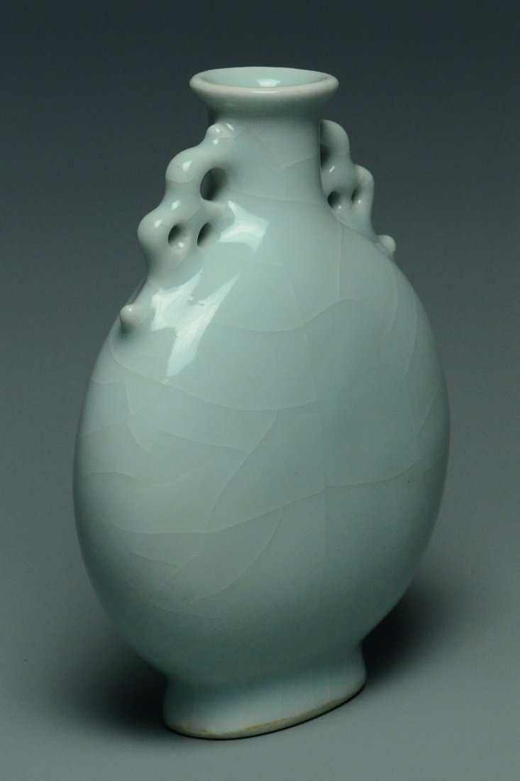 A QING DYNASTY CELADON MOON FLASK YONGZHENG MARK - 2