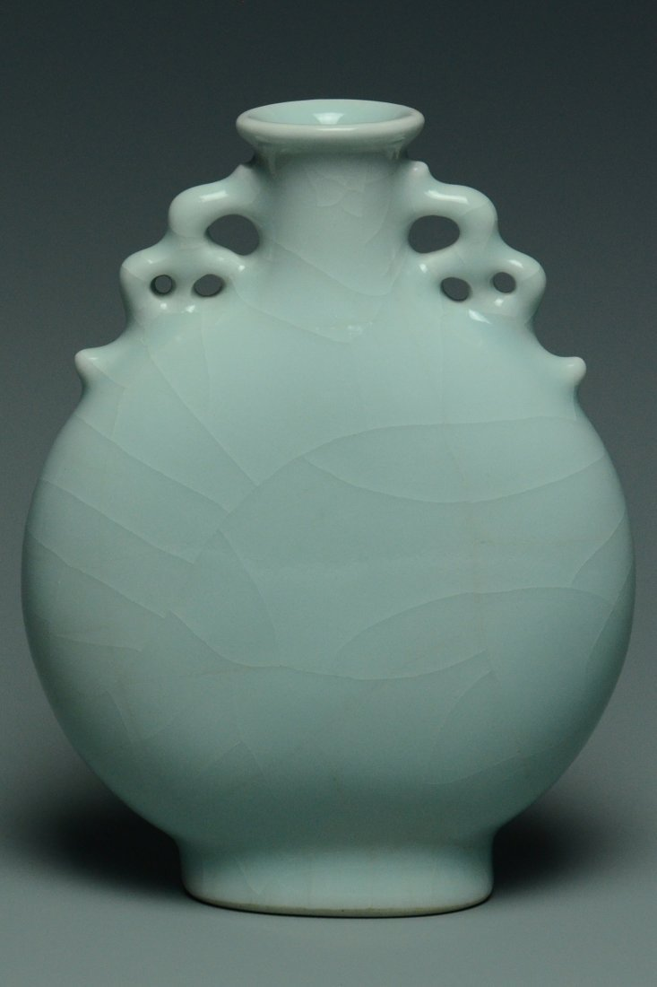 A QING DYNASTY CELADON MOON FLASK YONGZHENG MARK - 4