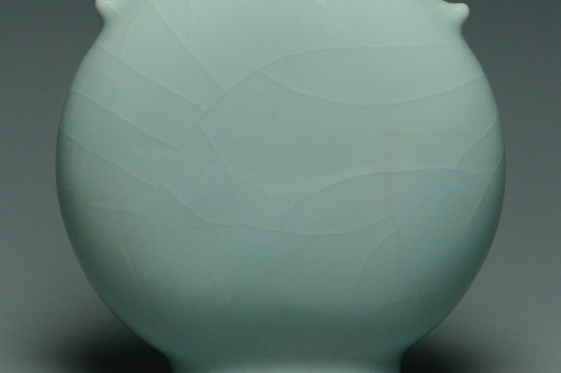 A QING DYNASTY CELADON MOON FLASK YONGZHENG MARK - 6