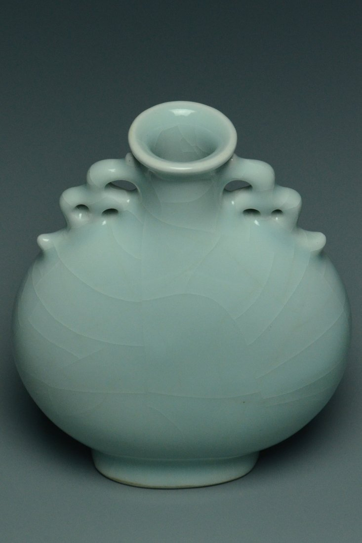 A QING DYNASTY CELADON MOON FLASK YONGZHENG MARK - 7