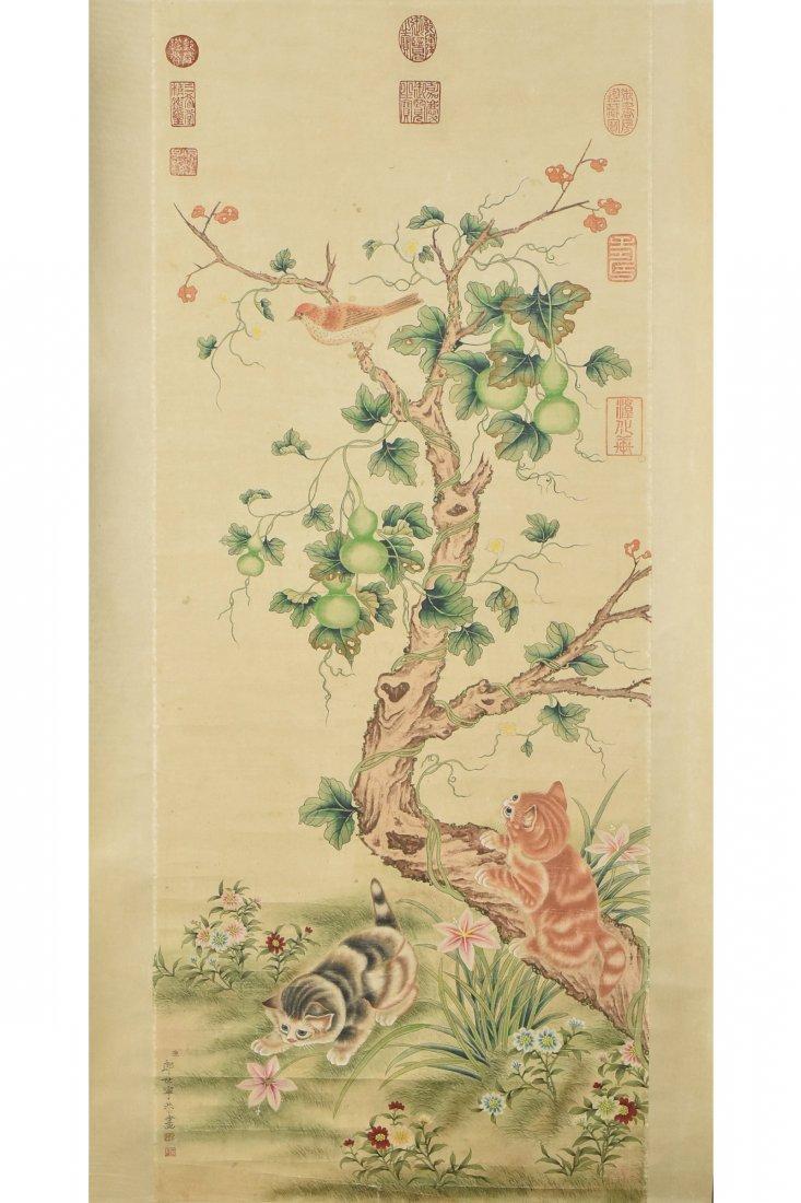 LANG SHI NING(1688-1766),SCROLL PAINTING ON PAPER